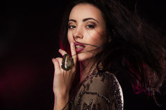 Fashion studio shot of beautiful woman Royalty Free Stock Images