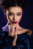Fashion studio shot of beautiful woman with makeup Royalty Free Stock Photos