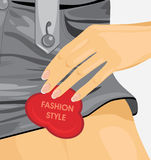 Fashion style. Fragment of female gray shorts Stock Photography