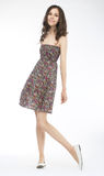 Fashion style - lovely woman posing in light dress Royalty Free Stock Photography