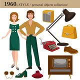 1960 fashion style man and woman personal objects. 1960 fashion style of man and woman clothes garments and personal objects collection. Vector retro dress or royalty free illustration