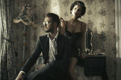 Fashion style photo of couple Royalty Free Stock Photo