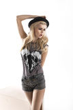 Fashion style photo of cute blonde woman Royalty Free Stock Photos
