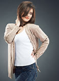 Fashion style portrait of woman , casual dress. Royalty Free Stock Photo