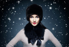Fashion style portrait of a woman in elegant winter fur Stock Image