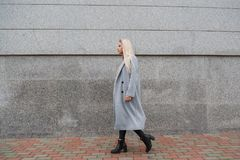 Fashion style portrait of young beautiful elegant woman in gray fur coat walking at city street Stock Photography