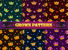 Fashion style seamless patterns set. Vector textures with cartoon golden crowns and precious stones on dark background royalty free illustration