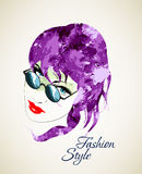 Fashion Style. Sketch. Beauty girl face Royalty Free Stock Image