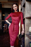 Fashion style woman wear red skinny dress accessory beautiful. Fashion style woman perfect body shape brunette hair wear red skinny dress elegance casual Stock Photo