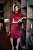 Fashion style woman wear red skinny dress accessory beautiful Stock Photos