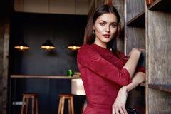 Fashion style woman wear red skinny dress accessory beautiful Royalty Free Stock Image
