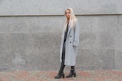 Fashion style young elegant woman in gray fur coat walking at city street. Fashion style young elegant woman in gray fur coat walking at city street stock image