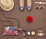 Fashion Stylish Accessory Set. Essentials Cosmetic. Trendy fashion Design Outfit. Fashion Lady Accessories Set. Essentials Fashion Cosmetic Makeup. Stylish Stock Images