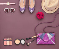 Fashion Stylish Accessory Set. Essentials Cosmetic Stock Photography