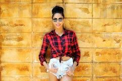 Fashion stylish beautiful woman portrait wearing sunglasses.  Stock Photo