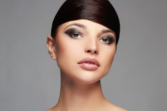 Fashion Stylish Beauty Portrait with healthy Hair. Beautiful Girl Face.Hairstyle Stock Image