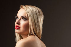 Fashion Stylish Beauty portrait of smiling beautiful blonde girl Stock Photo