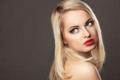 Fashion Stylish Beauty portrait of smiling beautiful blonde girl Stock Images