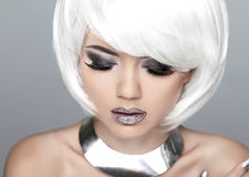 Fashion Stylish Beauty Portrait with White Short Hair. Beautiful Royalty Free Stock Photography