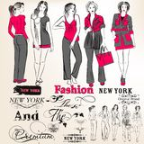 Fashion  stylish girls silhouettes for design Stock Images