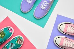 Fashion. Stylish Hipster Trainers. Shopping Sale. Fashion. Stylish Trainers shoes. Minimal Design. Summer Hipster Girl Essentials. Shopping Sale Discount concept stock image