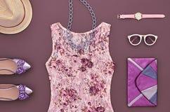 Fashion Stylish Lady Outfit. Urban Essentials Set Stock Photography