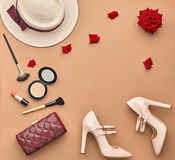 Fashion Stylish Set. Top view. Essentials Cosmetic Royalty Free Stock Photos