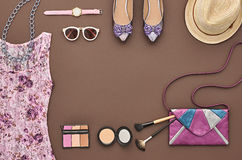 Fashion Stylish Set. Top view. Essentials Cosmetic Stock Images