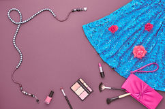 Fashion Stylish Set. Top view. Essentials Cosmetic Stock Photo