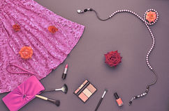 Fashion Stylish Set. Top view. Essentials Cosmetic Stock Photography