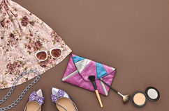 Fashion Stylish Set. Top view. Essentials Cosmetic Stock Image