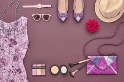 Fashion Stylish Set. Top view. Essentials Cosmetic. Fashion woman Clothes Accessories Set. Essentials Fashion Cosmetic Makeup. Stylish dress Glamor handbag Royalty Free Stock Image