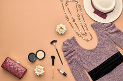 Fashion Stylish Set. Top view. Essentials Cosmetic Royalty Free Stock Photo