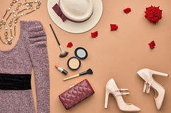 Fashion Stylish Set. Top view. Essentials Cosmetic Stock Photos