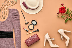 Fashion Stylish Set. Top view. Essentials Cosmetic. Fashion woman Clothes Accessories Set. Essentials Fashion Cosmetic Makeup. Stylish Lady Dress, Handbag Royalty Free Stock Images