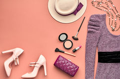 Fashion Stylish Set. Top view. Essentials Cosmetic Royalty Free Stock Photography