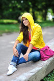 Fashion stylish teenage girl in colorful clothes Royalty Free Stock Photo