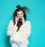 Fashion stylish woman dancing and making photo Stock Photography