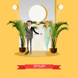 Fashion stylist concept vector illustration in flat style. Vector illustration of professional fashion designer male with model girl walking down catwalk Royalty Free Stock Photo