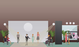 Fashion stylist and models vector illustration in flat style. Vector illustration of fashion stylist male with models male and females walking down catwalk Stock Photography