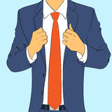 Fashion suit business man wear red tie flat design Stock Photography