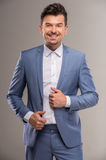 Fashion suit. Fashion style photo of a man wearing light blue suit Royalty Free Stock Photo