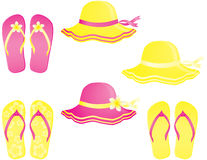 Fashion summer accessories. Hats and flip-flops isolated on white Stock Photo