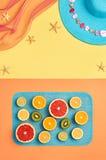 Fashion Summer Beach set. Tropical fruit. Minimal Stock Photos