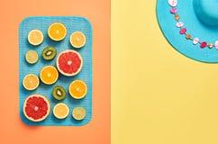 Fashion Summer Beach set. Tropical fruit. Minimal Stock Images