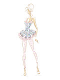 Fashion Summer Dress 209. Vector fashion model. Vector sketch silhouette. Vector vintage lady. Dress pencil sketch. Vector fashion outline Stock Illustration