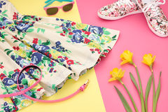Fashion Summer girl Outfit, Accessories.Essentials Stock Images