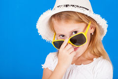 Fashion summer girl wearing a hat Stock Image