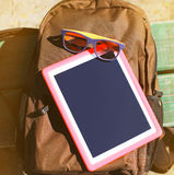 Fashion summer hipster concept, screen tablet pc Royalty Free Stock Photo