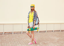 Fashion summer hipster cool woman in sunglasses Stock Photography